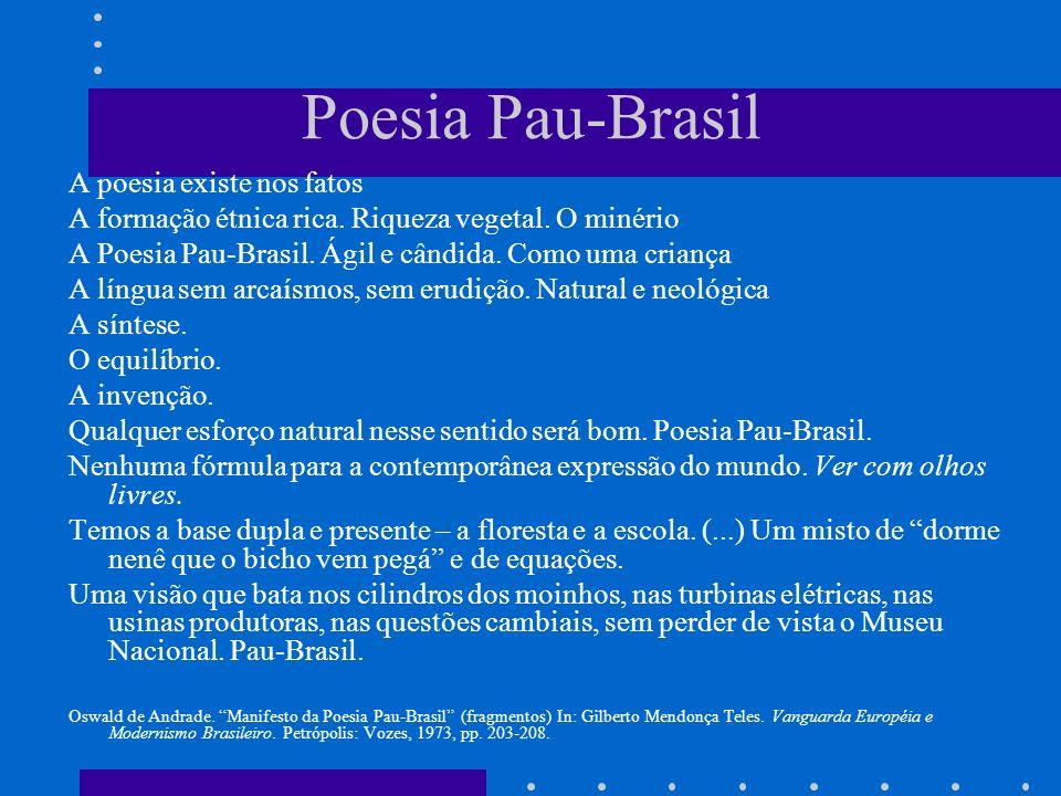 Poesia Pau-Brasil A poesia existe nos fatos A formação étnica rica. Riqueza vegetal. O minério A Poesia Pau-Brasil. Ágil e cândida. Como uma criança A