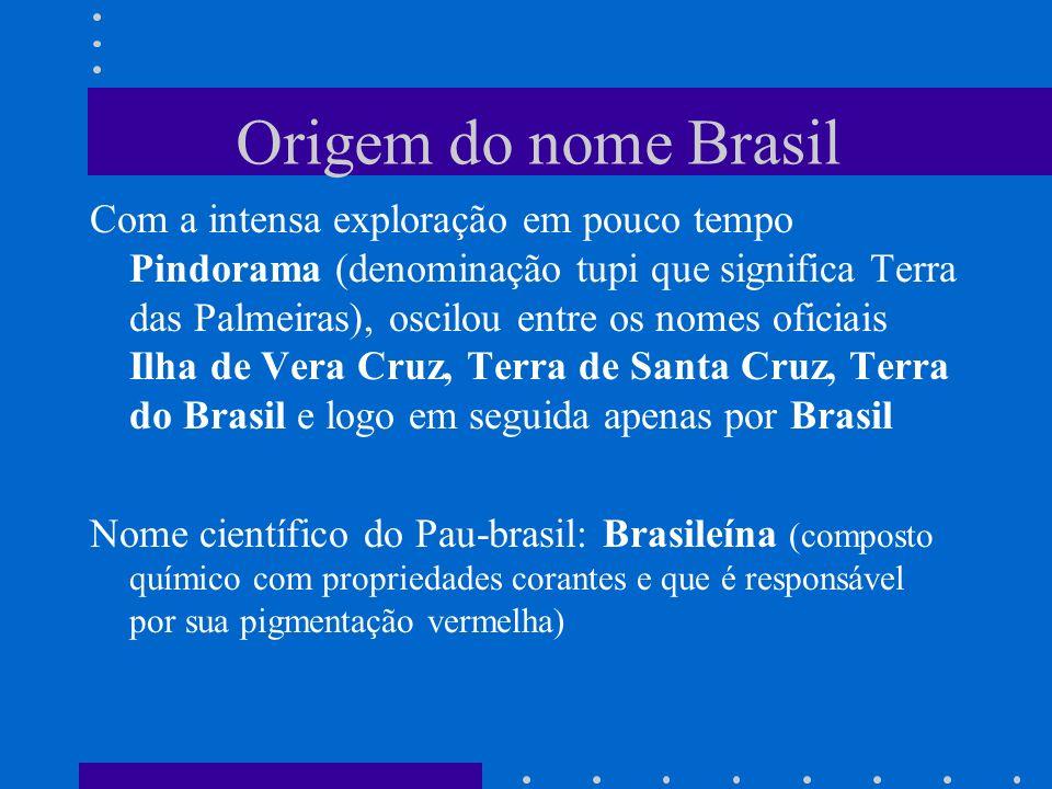 Origem do nome Brasil Com a intensa exploração em pouco tempo Pindorama (denominação tupi que significa Terra das Palmeiras), oscilou entre os nomes o