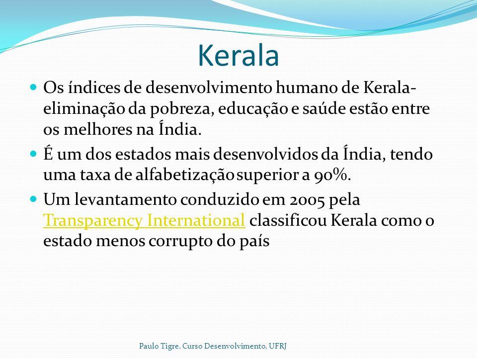 Kerala Os índices de desenvolvimento humano de Kerala- eliminação da pobreza, educação e saúde estão entre os melhores na Índia.