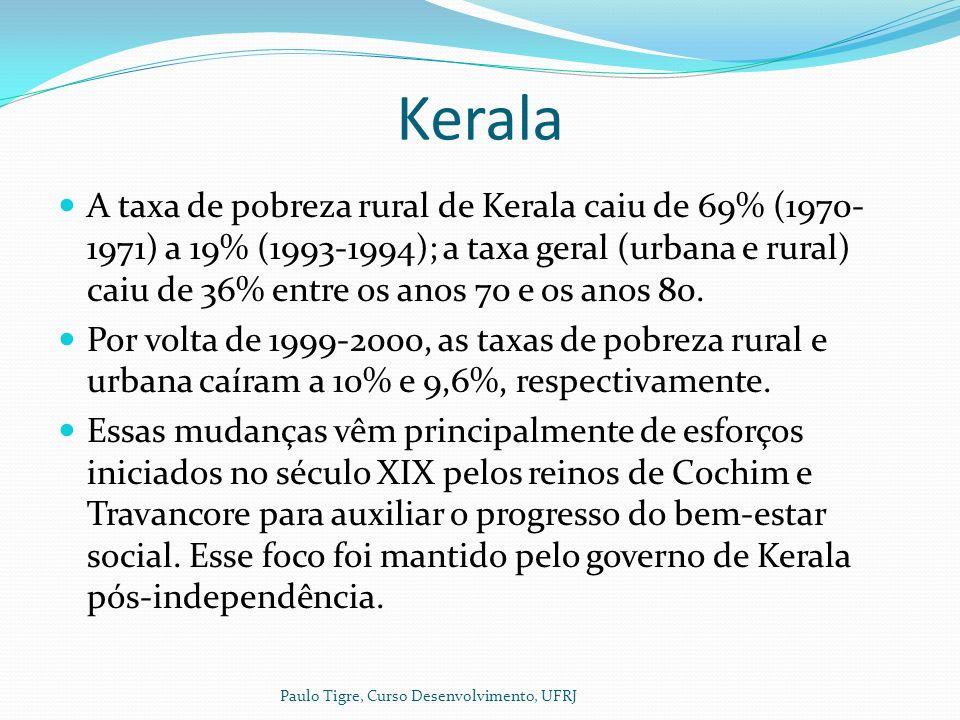 Kerala A taxa de pobreza rural de Kerala caiu de 69% (1970- 1971) a 19% (1993-1994); a taxa geral (urbana e rural) caiu de 36% entre os anos 70 e os anos 80.