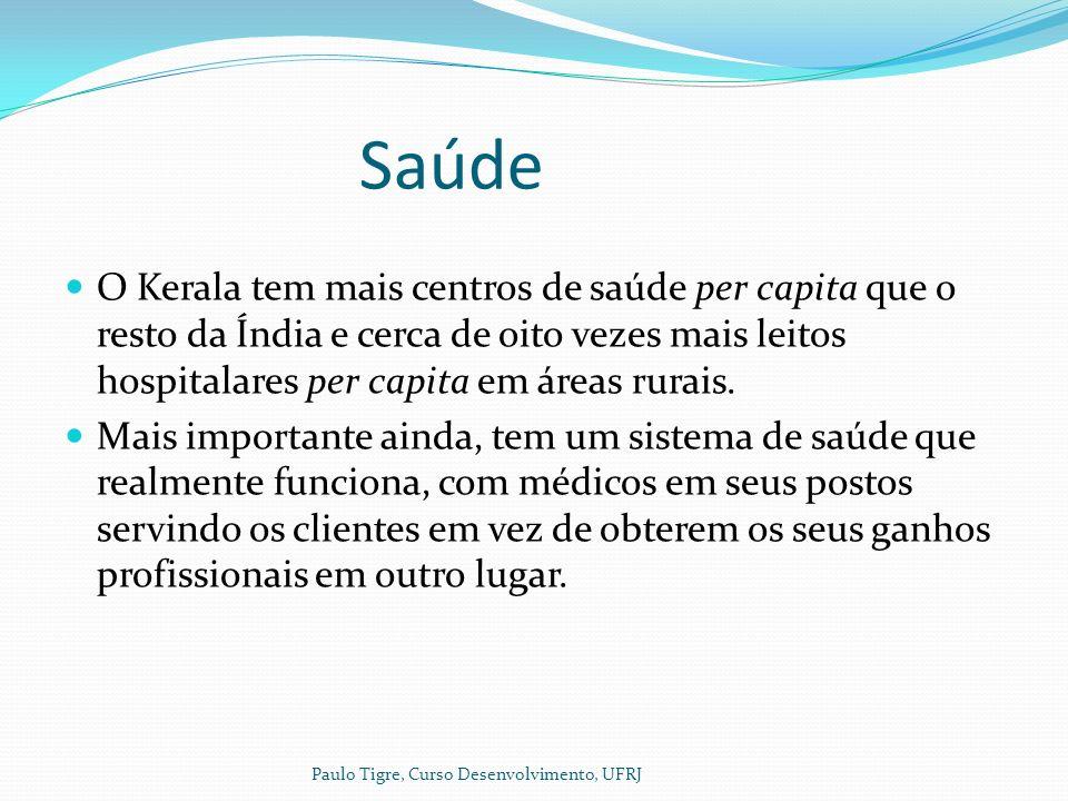 Saúde O Kerala tem mais centros de saúde per capita que o resto da Índia e cerca de oito vezes mais leitos hospitalares per capita em áreas rurais.