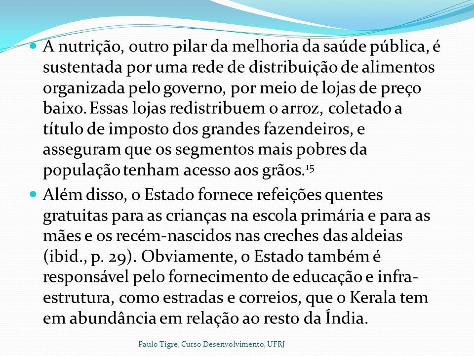 A nutrição, outro pilar da melhoria da saúde pública, é sustentada por uma rede de distribuição de alimentos organizada pelo governo, por meio de lojas de preço baixo.