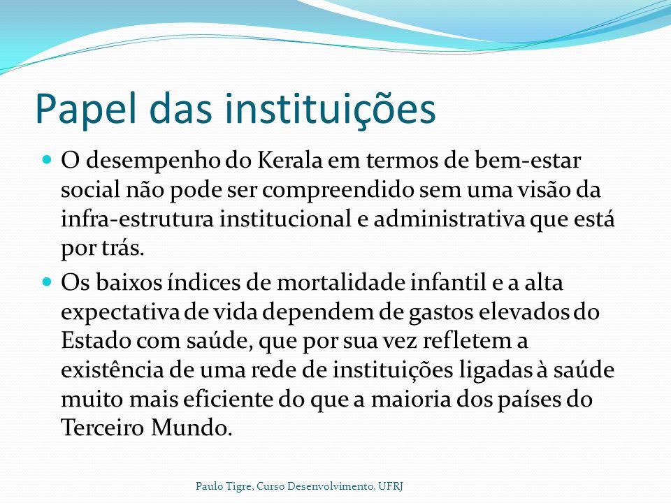 Papel das instituições O desempenho do Kerala em termos de bem-estar social não pode ser compreendido sem uma visão da infra-estrutura institucional e administrativa que está por trás.
