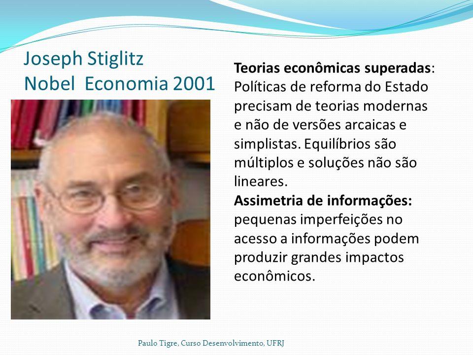Joseph Stiglitz Nobel Economia 2001 Paulo Tigre, Curso Desenvolvimento, UFRJ Teorias econômicas superadas: Políticas de reforma do Estado precisam de teorias modernas e não de versões arcaicas e simplistas.