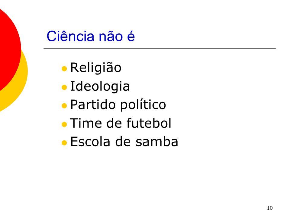 10 Ciência não é Religião Ideologia Partido político Time de futebol Escola de samba