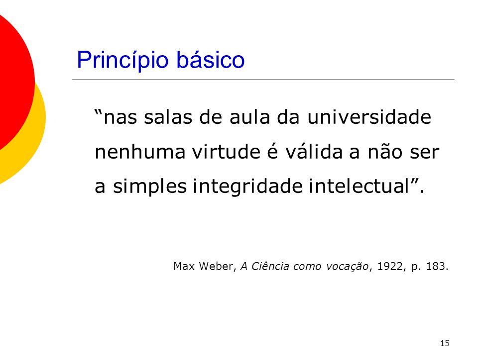 15 Princípio básico nas salas de aula da universidade nenhuma virtude é válida a não ser a simples integridade intelectual. Max Weber, A Ciência como