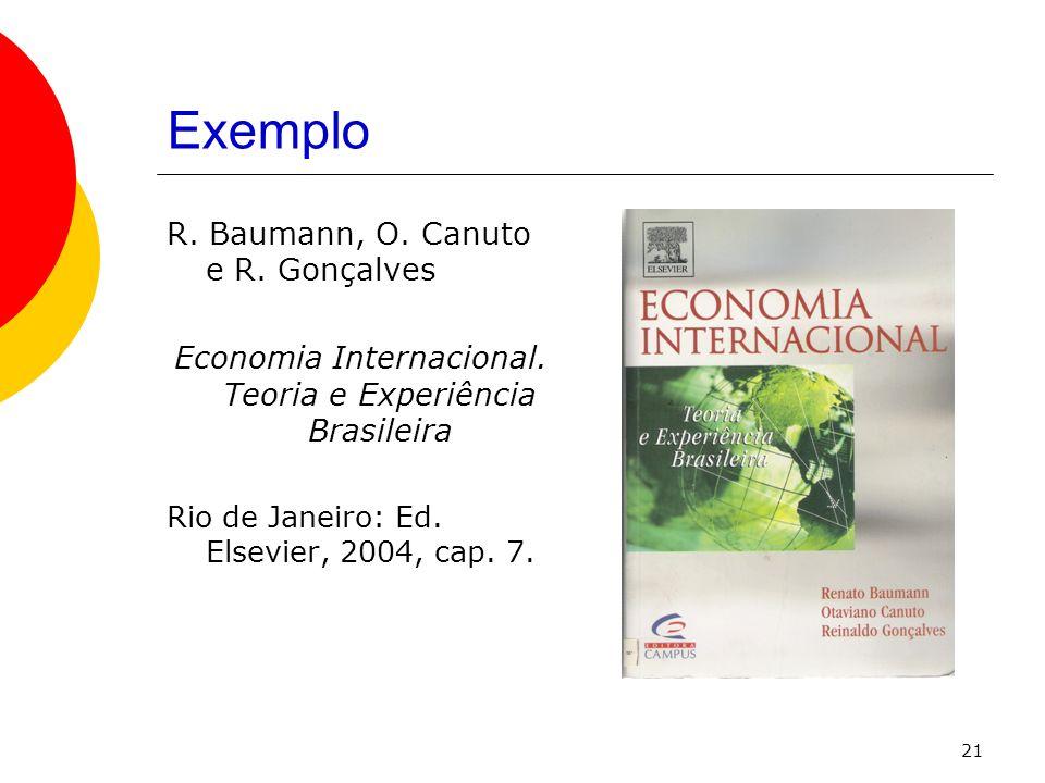 21 Exemplo R. Baumann, O. Canuto e R. Gonçalves Economia Internacional. Teoria e Experiência Brasileira Rio de Janeiro: Ed. Elsevier, 2004, cap. 7.