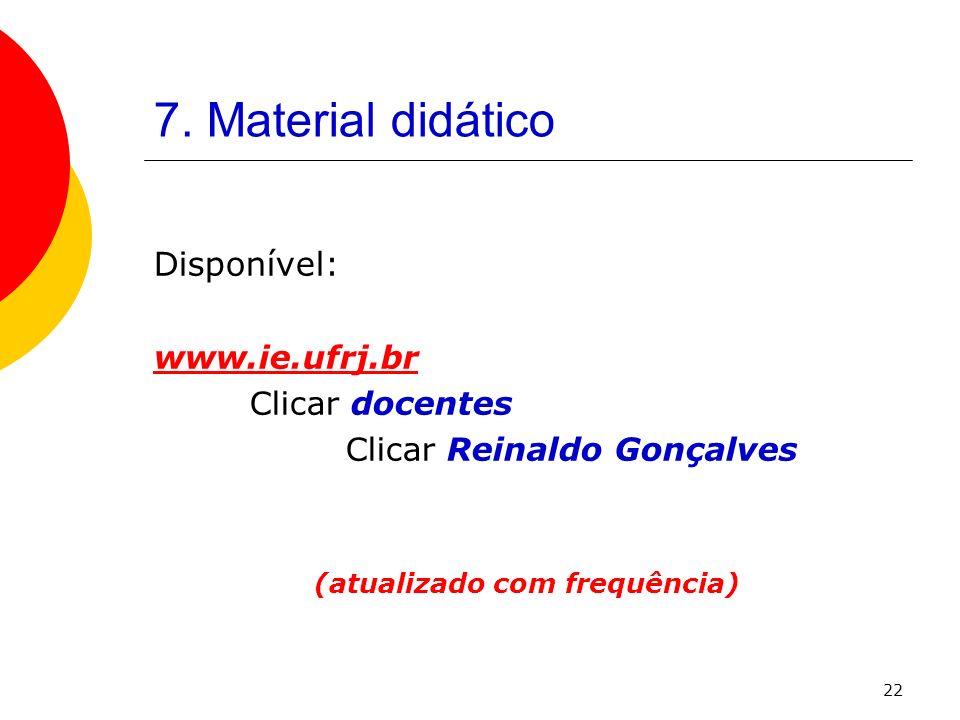 22 7. Material didático Disponível: www.ie.ufrj.br Clicar docentes Clicar Reinaldo Gonçalves (atualizado com frequência)