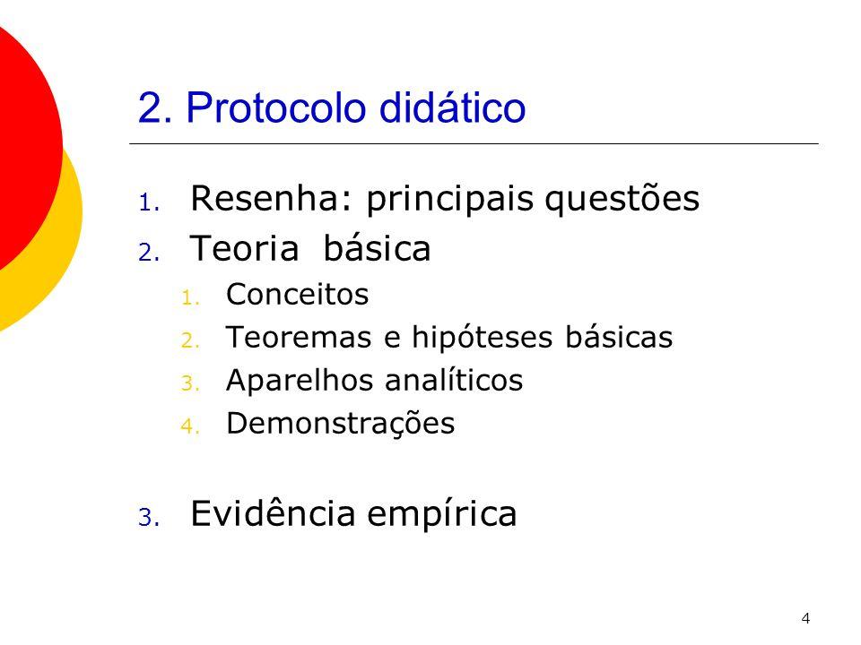 4 2. Protocolo didático 1. Resenha: principais questões 2. Teoria básica 1. Conceitos 2. Teoremas e hipóteses básicas 3. Aparelhos analíticos 4. Demon