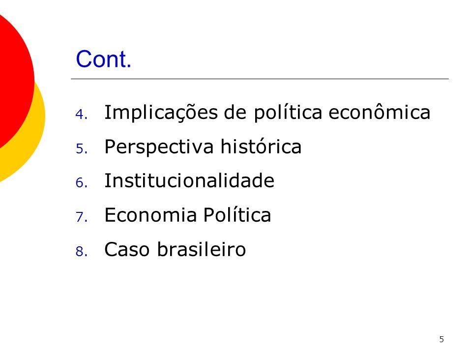 5 Cont. 4. Implicações de política econômica 5. Perspectiva histórica 6. Institucionalidade 7. Economia Política 8. Caso brasileiro