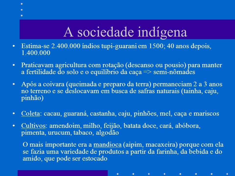 A sociedade indígena Estima-se 2.400.000 índios tupi-guarani em 1500; 40 anos depois, 1.400.000 Praticavam agricultura com rotação (descanso ou pousio