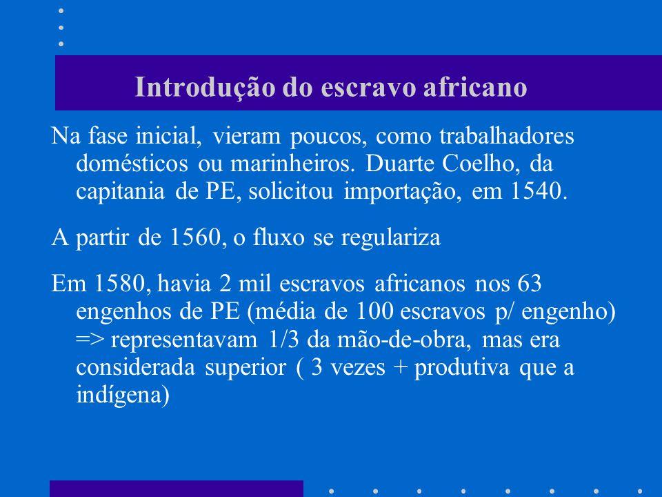 Introdução do escravo africano Na fase inicial, vieram poucos, como trabalhadores domésticos ou marinheiros. Duarte Coelho, da capitania de PE, solici