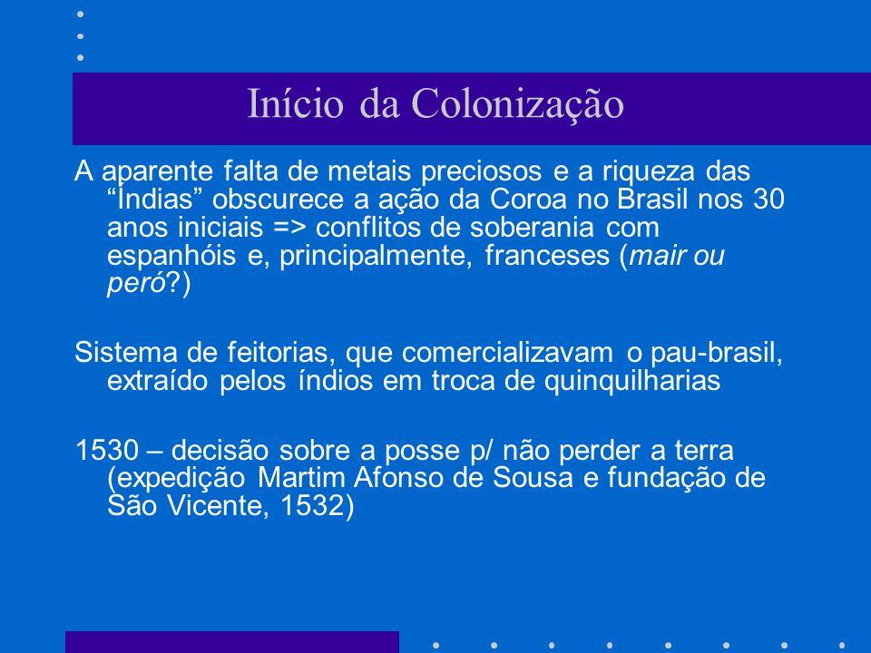 Início da Colonização A aparente falta de metais preciosos e a riqueza das Índias obscurece a ação da Coroa no Brasil nos 30 anos iniciais => conflito