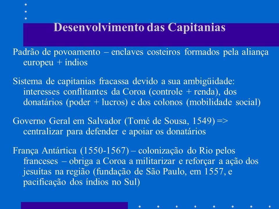 Desenvolvimento das Capitanias Padrão de povoamento – enclaves costeiros formados pela aliança europeu + índios Sistema de capitanias fracassa devido