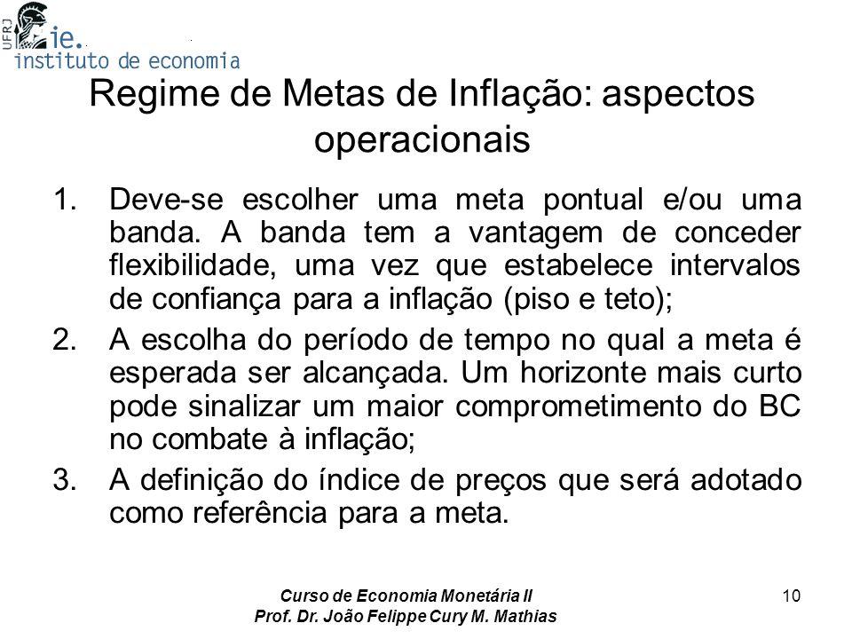 Curso de Economia Monetária II Prof. Dr. João Felippe Cury M. Mathias 10 Regime de Metas de Inflação: aspectos operacionais 1.Deve-se escolher uma met