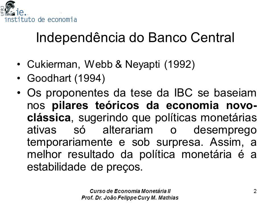 Curso de Economia Monetária II Prof. Dr. João Felippe Cury M. Mathias 2 Independência do Banco Central Cukierman, Webb & Neyapti (1992) Goodhart (1994
