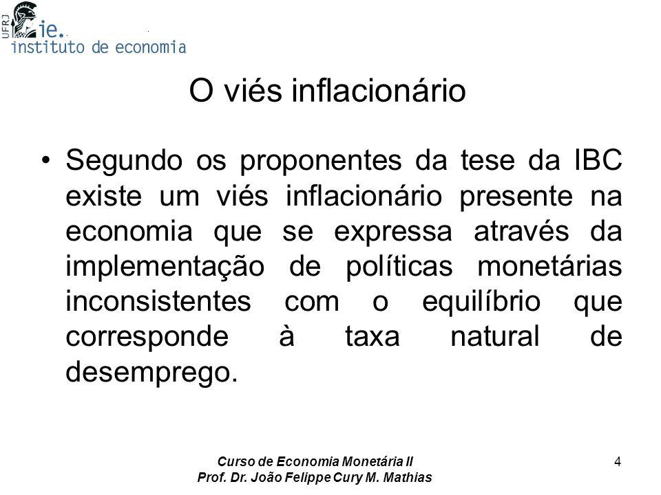 Curso de Economia Monetária II Prof. Dr. João Felippe Cury M. Mathias 4 O viés inflacionário Segundo os proponentes da tese da IBC existe um viés infl