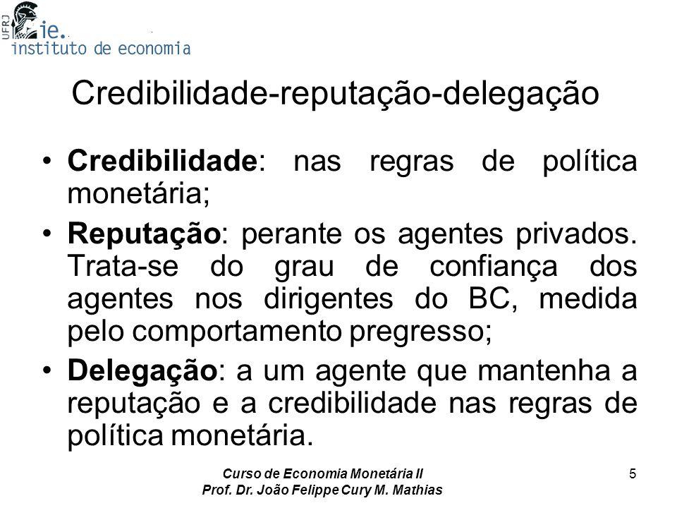 Curso de Economia Monetária II Prof. Dr. João Felippe Cury M. Mathias 5 Credibilidade-reputação-delegação Credibilidade: nas regras de política monetá