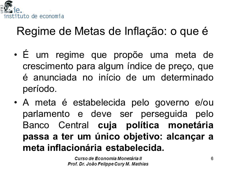 Curso de Economia Monetária II Prof. Dr. João Felippe Cury M. Mathias 6 Regime de Metas de Inflação: o que é É um regime que propõe uma meta de cresci