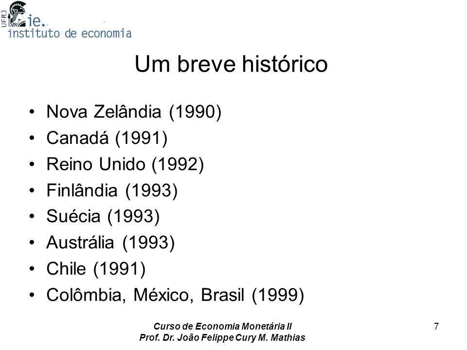 Curso de Economia Monetária II Prof. Dr. João Felippe Cury M. Mathias 7 Um breve histórico Nova Zelândia (1990) Canadá (1991) Reino Unido (1992) Finlâ