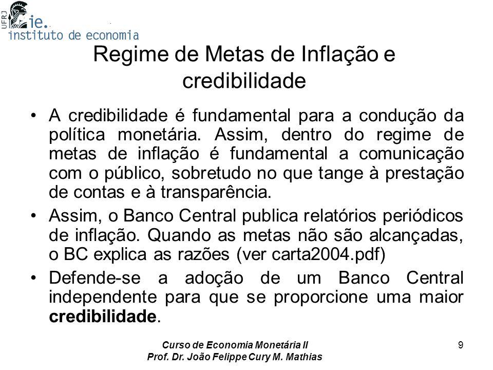 Curso de Economia Monetária II Prof. Dr. João Felippe Cury M. Mathias 9 Regime de Metas de Inflação e credibilidade A credibilidade é fundamental para