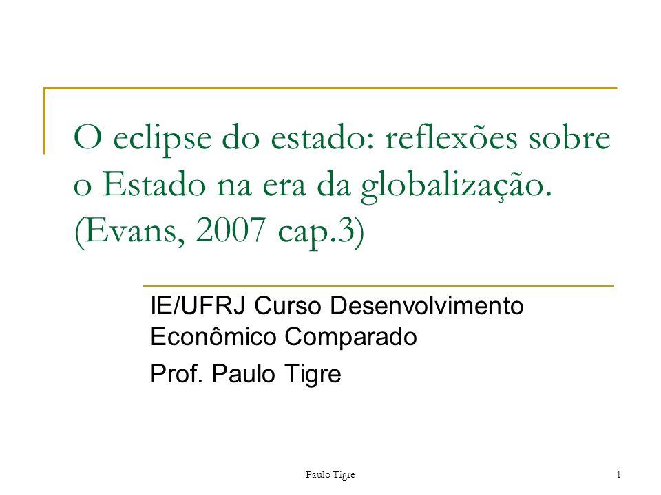 Paulo Tigre1 O eclipse do estado: reflexões sobre o Estado na era da globalização. (Evans, 2007 cap.3) IE/UFRJ Curso Desenvolvimento Econômico Compara