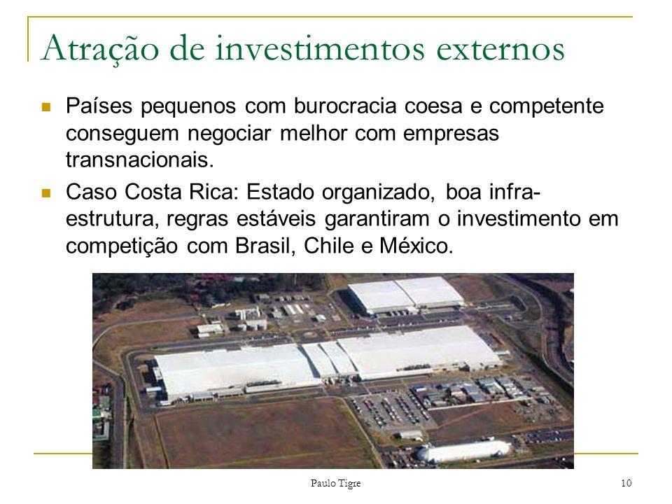 Paulo Tigre 10 Atração de investimentos externos Países pequenos com burocracia coesa e competente conseguem negociar melhor com empresas transnaciona