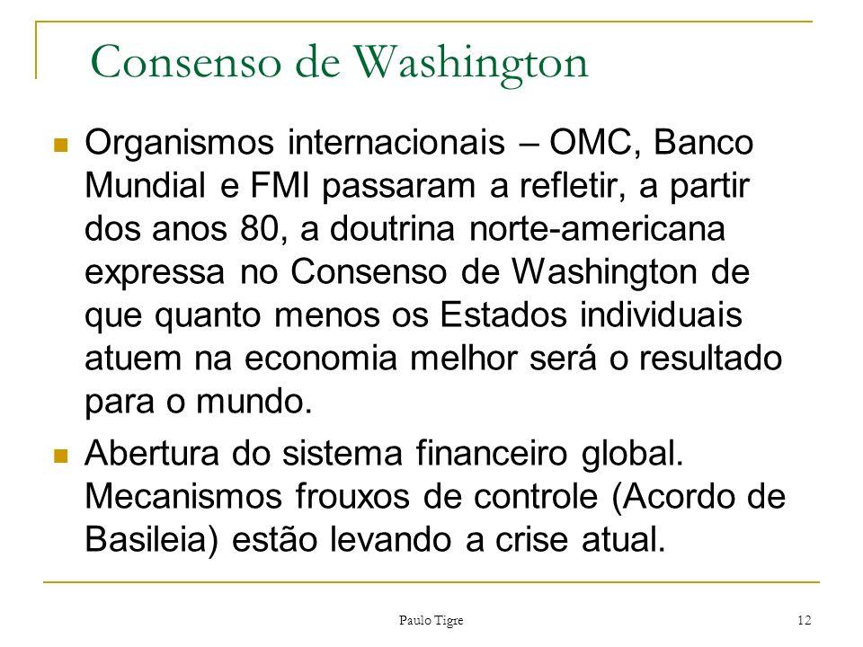 Paulo Tigre 12 Consenso de Washington Organismos internacionais – OMC, Banco Mundial e FMI passaram a refletir, a partir dos anos 80, a doutrina norte