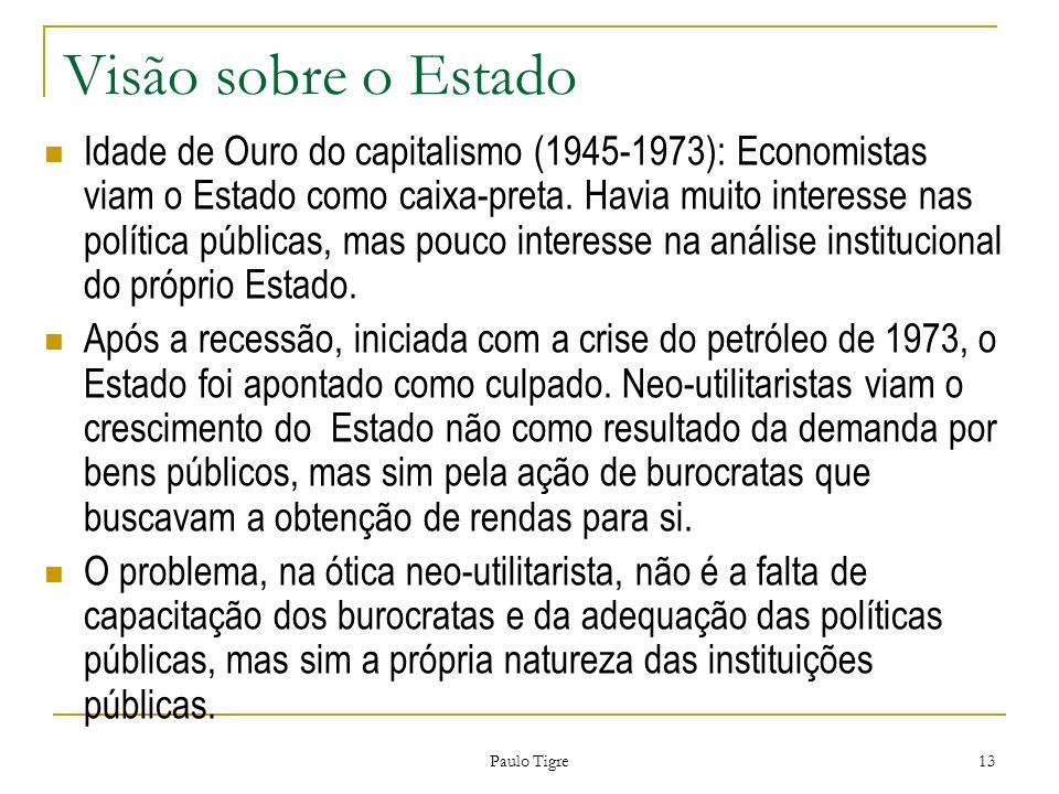 Paulo Tigre 13 Visão sobre o Estado Idade de Ouro do capitalismo (1945-1973): Economistas viam o Estado como caixa-preta. Havia muito interesse nas po