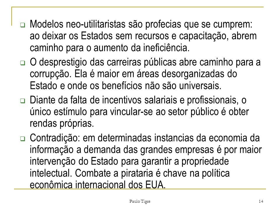 Paulo Tigre 14 Modelos neo-utilitaristas são profecias que se cumprem: ao deixar os Estados sem recursos e capacitação, abrem caminho para o aumento d