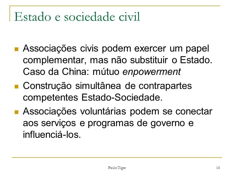 Paulo Tigre 16 Estado e sociedade civil Associações civis podem exercer um papel complementar, mas não substituir o Estado. Caso da China: mútuo enpow