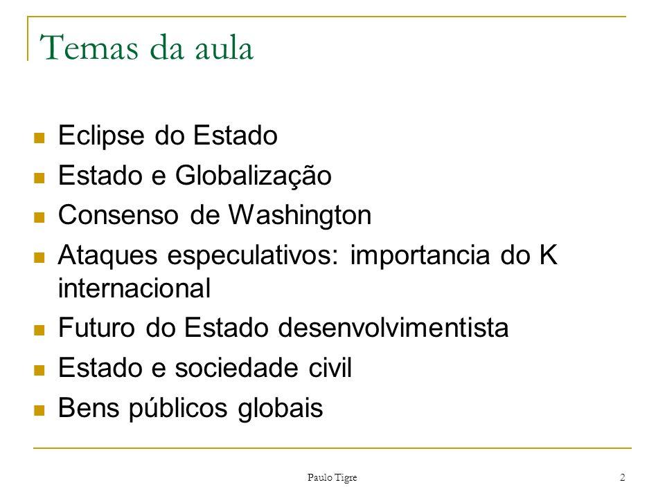 Paulo Tigre 13 Visão sobre o Estado Idade de Ouro do capitalismo (1945-1973): Economistas viam o Estado como caixa-preta.