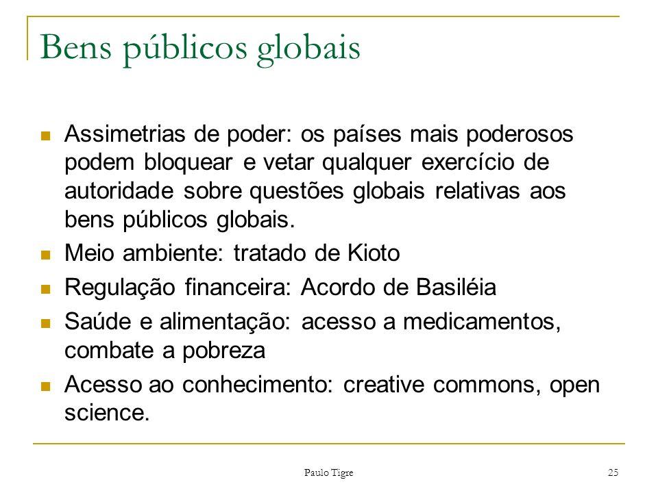 Paulo Tigre 25 Bens públicos globais Assimetrias de poder: os países mais poderosos podem bloquear e vetar qualquer exercício de autoridade sobre ques