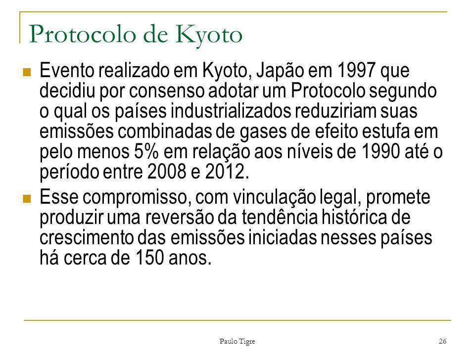 Paulo Tigre 26 Protocolo de Kyoto Evento realizado em Kyoto, Japão em 1997 que decidiu por consenso adotar um Protocolo segundo o qual os países indus