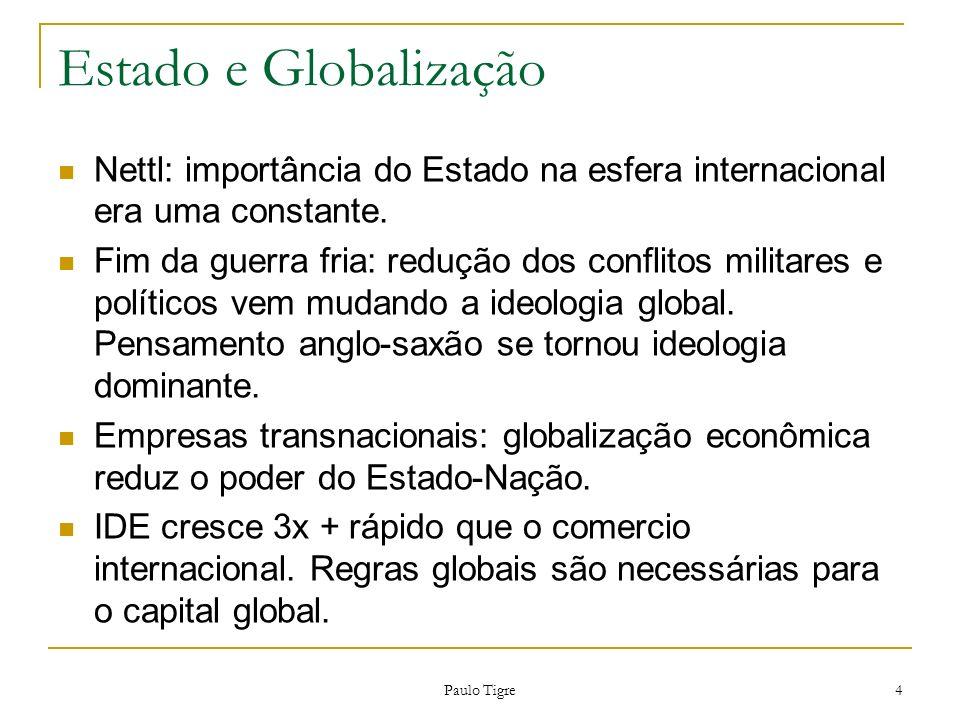 Paulo Tigre 4 Estado e Globalização Nettl: importância do Estado na esfera internacional era uma constante. Fim da guerra fria: redução dos conflitos