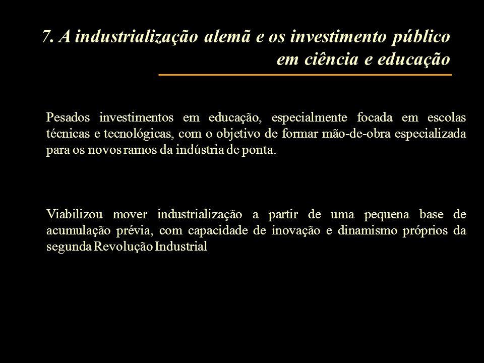 Pesados investimentos em educação, especialmente focada em escolas técnicas e tecnológicas, com o objetivo de formar mão-de-obra especializada para os novos ramos da indústria de ponta.