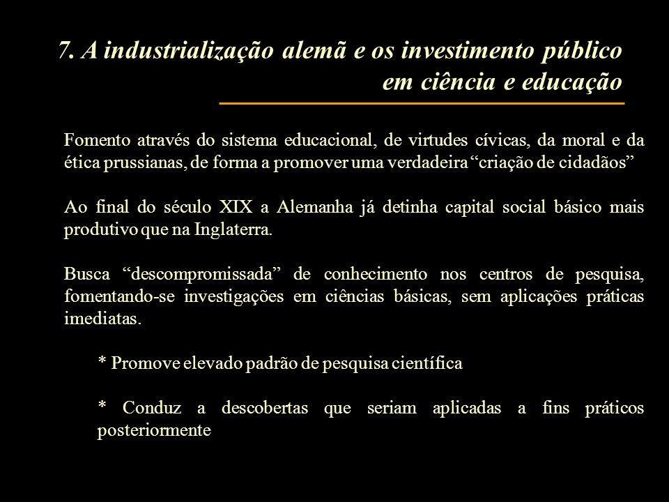 7. A industrialização alemã e os investimento público em ciência e educação Fomento através do sistema educacional, de virtudes cívicas, da moral e da
