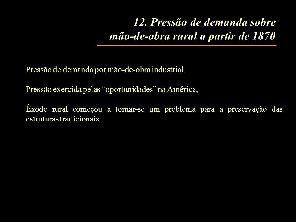 12. Pressão de demanda sobre mão-de-obra rural a partir de 1870 Pressão de demanda por mão-de-obra industrial Pressão exercida pelas oportunidades na