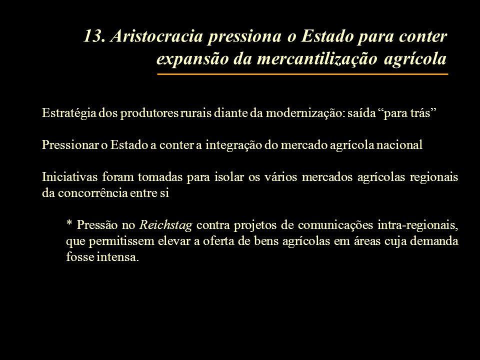 13. Aristocracia pressiona o Estado para conter expansão da mercantilização agrícola Estratégia dos produtores rurais diante da modernização: saída pa