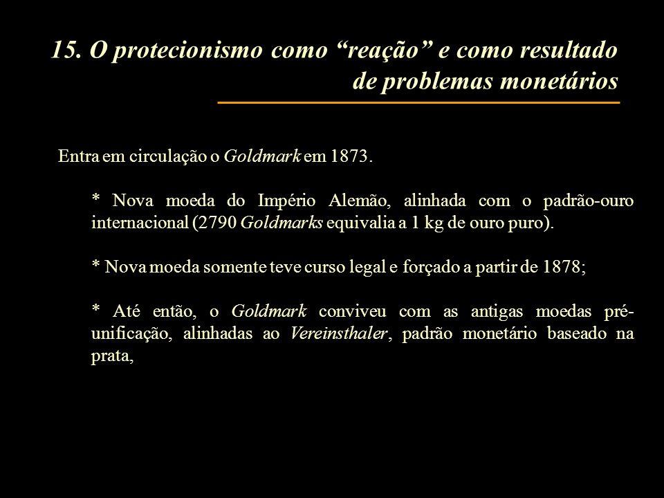 15. O protecionismo como reação e como resultado de problemas monetários Entra em circulação o Goldmark em 1873. * Nova moeda do Império Alemão, alinh