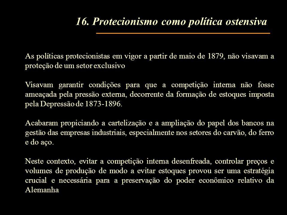 As políticas protecionistas em vigor a partir de maio de 1879, não visavam a proteção de um setor exclusivo Visavam garantir condições para que a competição interna não fosse ameaçada pela pressão externa, decorrente da formação de estoques imposta pela Depressão de 1873-1896.