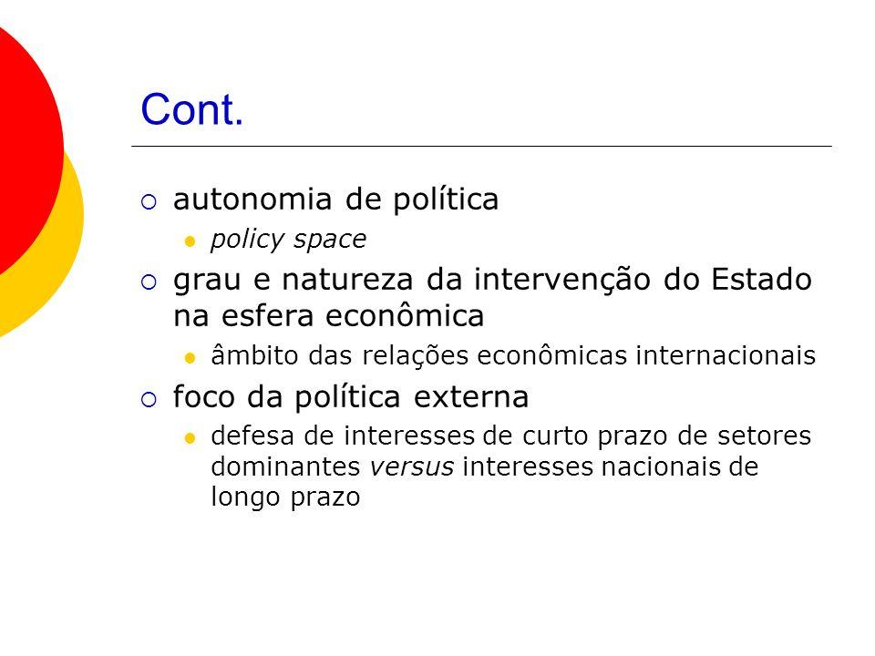Cont. autonomia de política policy space grau e natureza da intervenção do Estado na esfera econômica âmbito das relações econômicas internacionais fo
