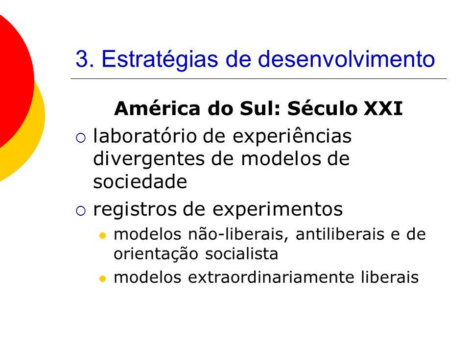 3. Estratégias de desenvolvimento América do Sul: Século XXI laboratório de experiências divergentes de modelos de sociedade registros de experimentos