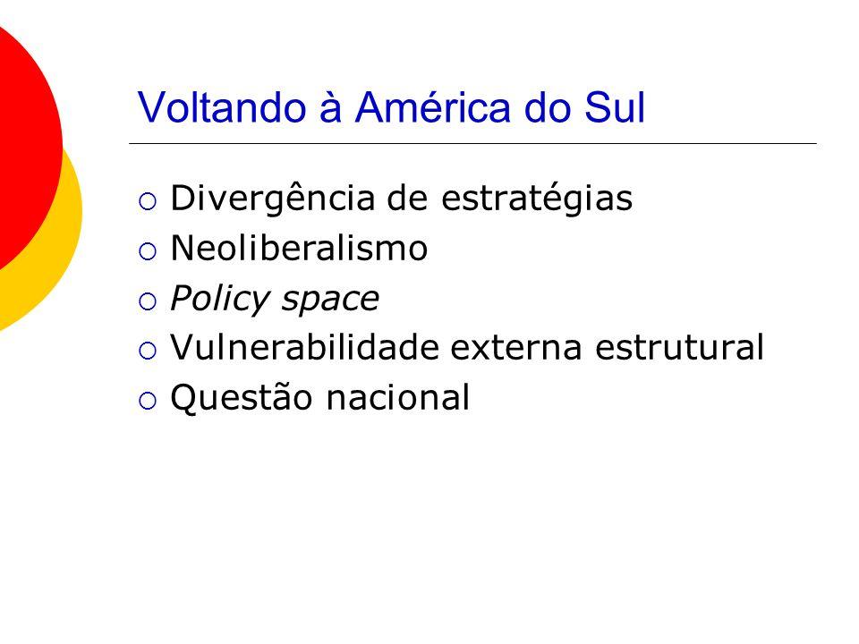 Voltando à América do Sul Divergência de estratégias Neoliberalismo Policy space Vulnerabilidade externa estrutural Questão nacional