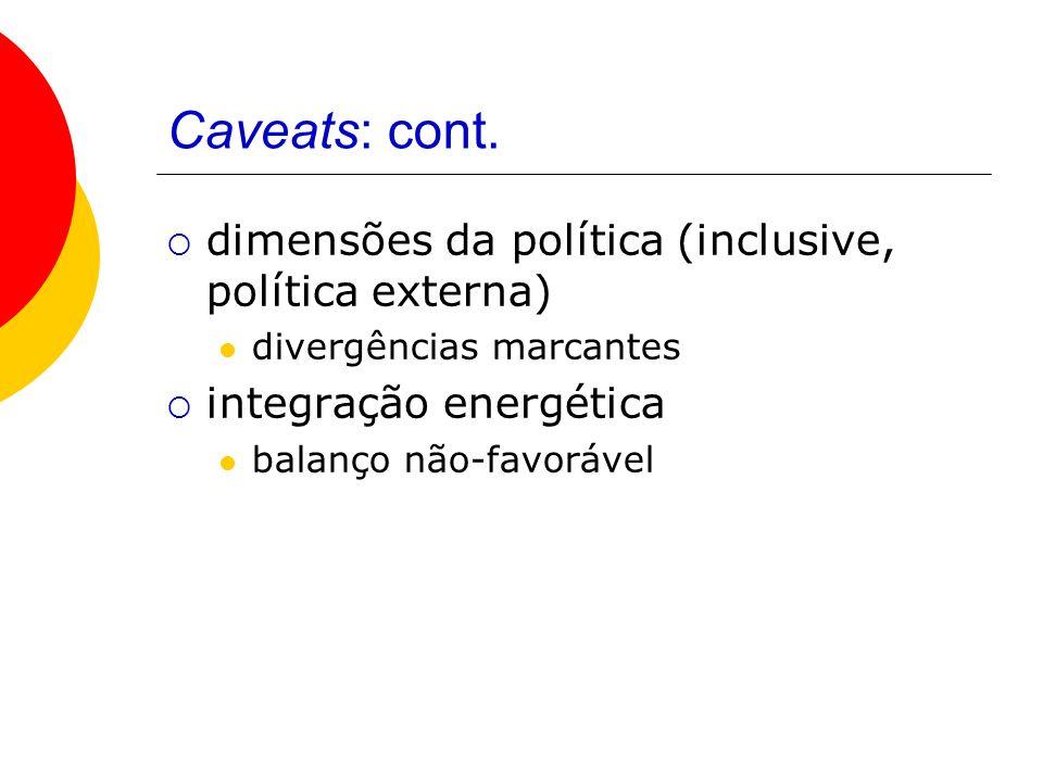 Caveats: cont. dimensões da política (inclusive, política externa) divergências marcantes integração energética balanço não-favorável