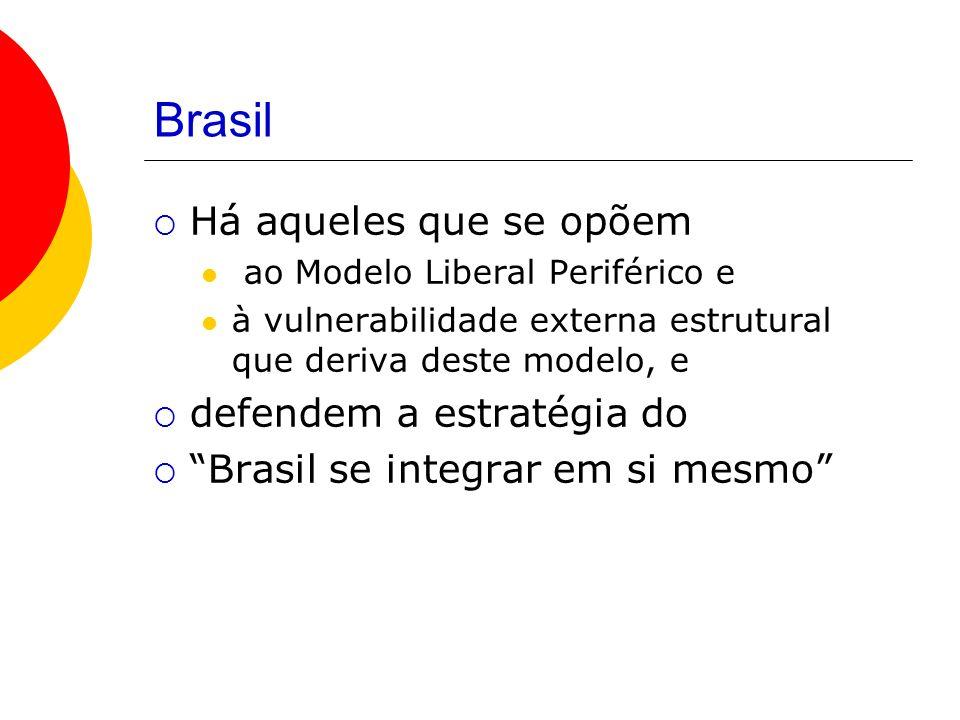 Brasil Há aqueles que se opõem ao Modelo Liberal Periférico e à vulnerabilidade externa estrutural que deriva deste modelo, e defendem a estratégia do