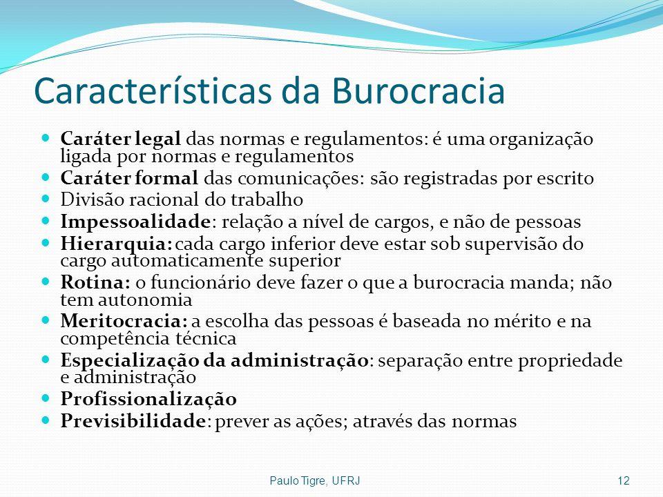 Características da Burocracia Caráter legal das normas e regulamentos: é uma organização ligada por normas e regulamentos Caráter formal das comunicaç