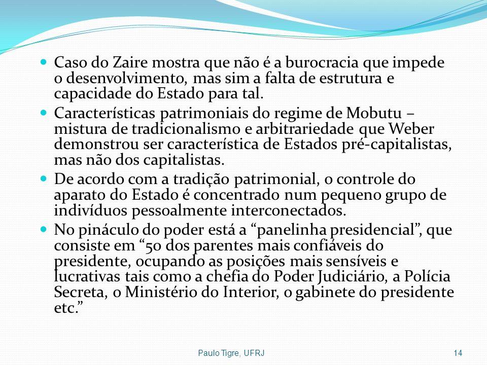 Paulo Tigre, UFRJ14 Caso do Zaire mostra que não é a burocracia que impede o desenvolvimento, mas sim a falta de estrutura e capacidade do Estado para