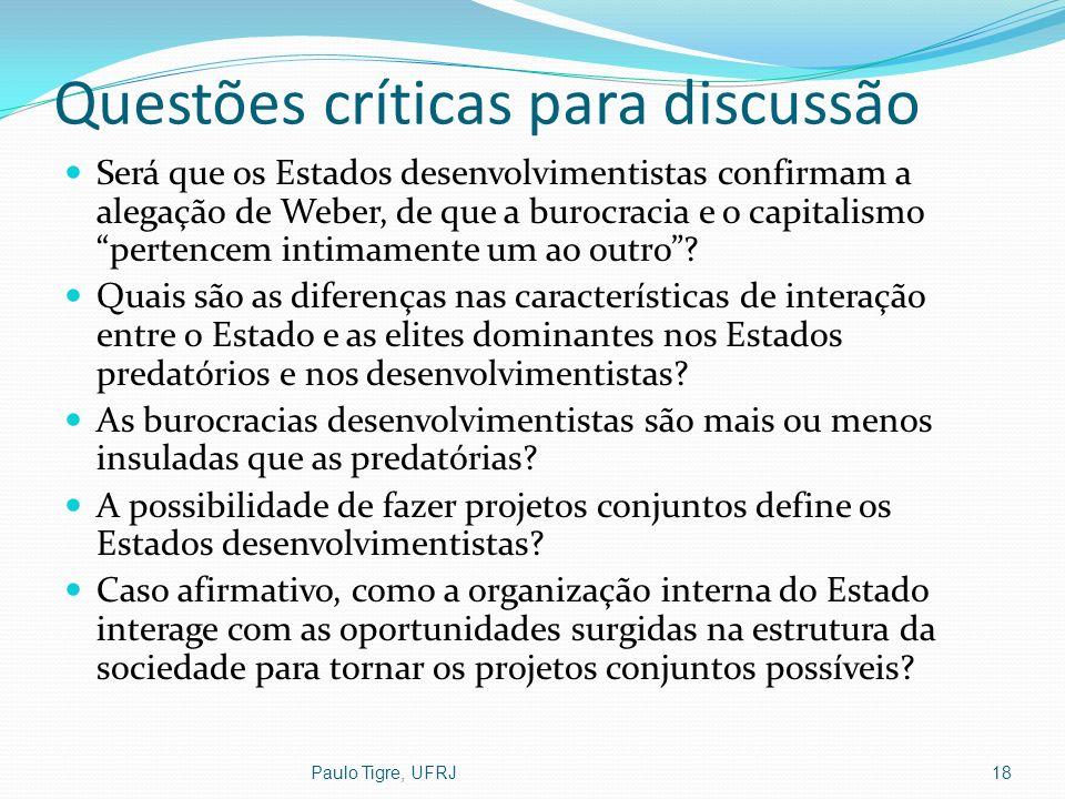Questões críticas para discussão Será que os Estados desenvolvimentistas confirmam a alegação de Weber, de que a burocracia e o capitalismo pertencem