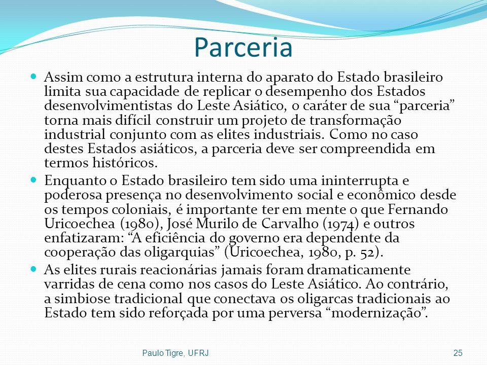 Parceria Assim como a estrutura interna do aparato do Estado brasileiro limita sua capacidade de replicar o desempenho dos Estados desenvolvimentistas